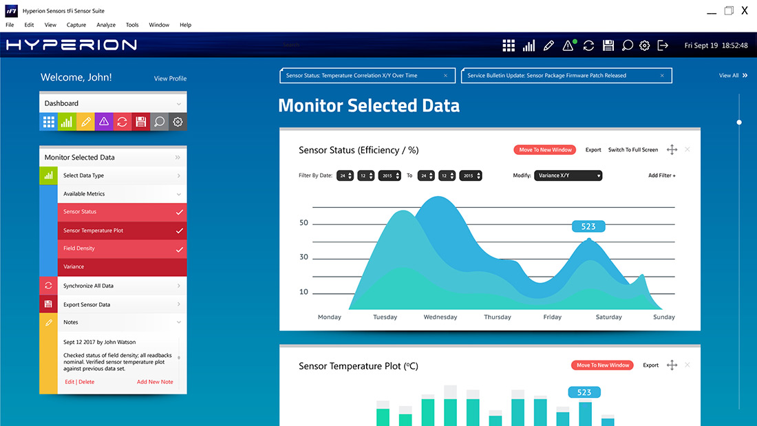 Hyperion tFit Sensor Suite - Inline Data