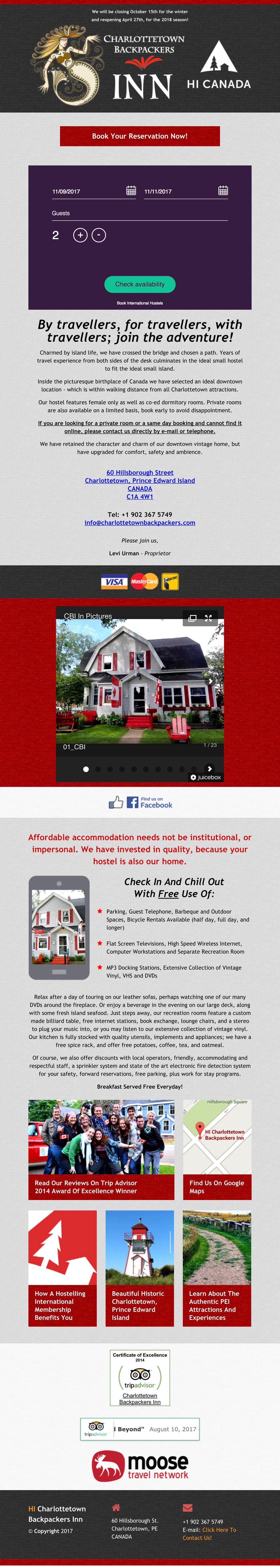 Charlottetown Backpackers Inn Web Site