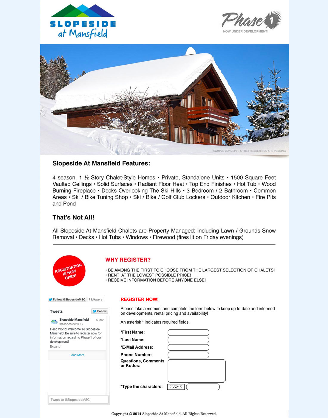 Slopeside Mansfield Web Site Prototype