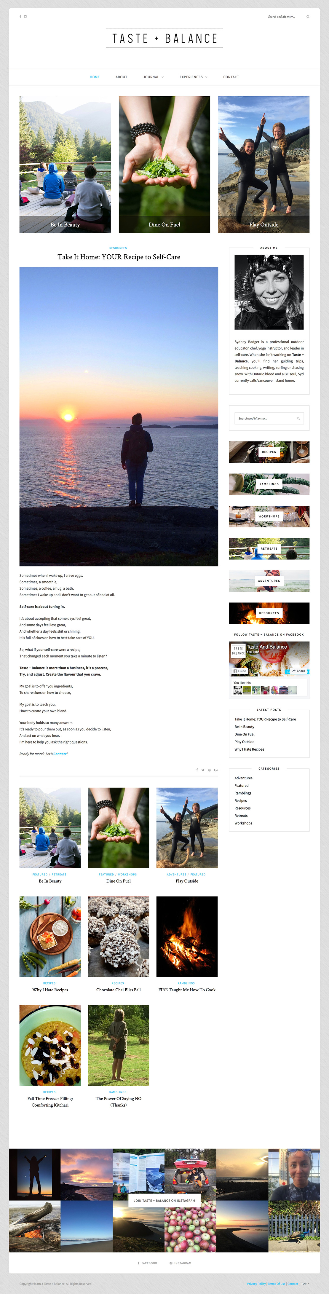 Taste + Balance Web Site